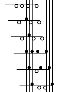 Traditional Klavarskribo notation for 7-5 keyboard (example 1)