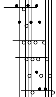 Traditional Klavarskribo notation for 7-5 keyboard (example 2)